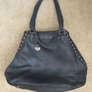 DKNY Blue Leather Stud Large Shoulder Bag